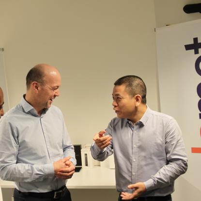 Dr. Ahmed Elmokashfi, Dr. Haakon Bryhni and Kyrre Lekve together with Hongqi Huang, CEO Huawei Technology Norway (Photo: SimulaMet/ Fanny Iversen Klang)