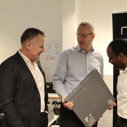 Erlend Bonesvoll, CEO nLogic with Dr. Haakon Bryhni and Dr. Ahmed Elmokashfi